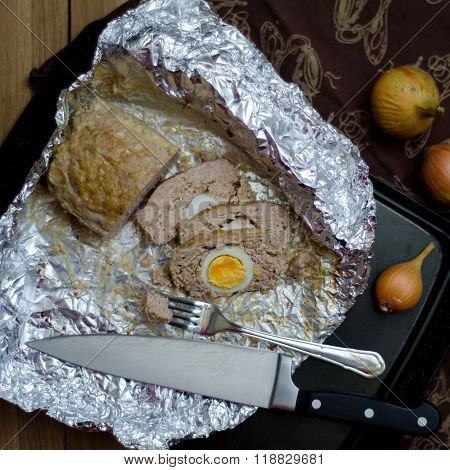 Meatloaf With Egg On A Foil