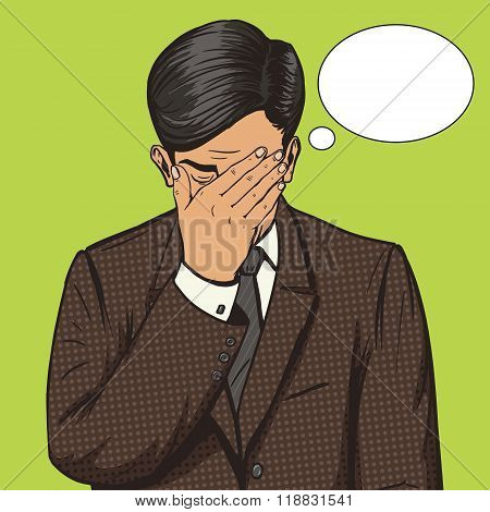 Businessman with facepalm gesture pop art vector