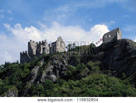 Ancient Castle Tourbillon In Switzerland.