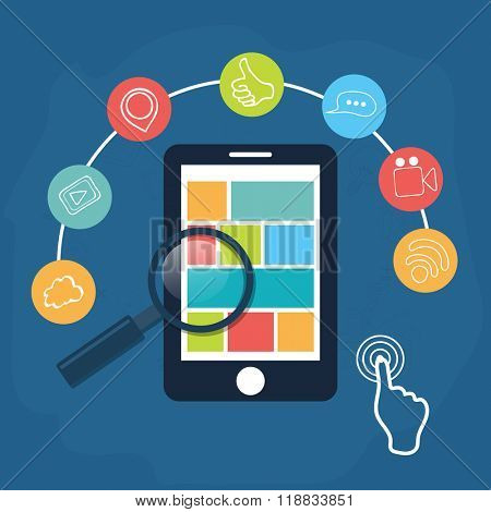 Creative Infographic layout with colorful web icons, magnifying glass and tablet for Business concept.