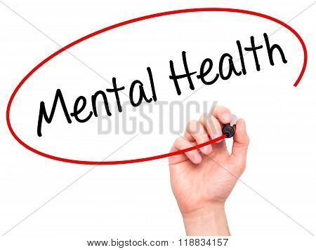 Man Hand Writing Mental Health With Black Marker On Visual Screen