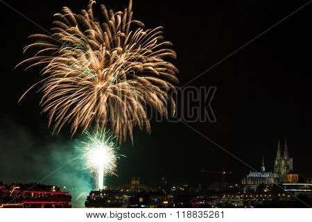 Firework in front of the cathedral of Cologne Germany