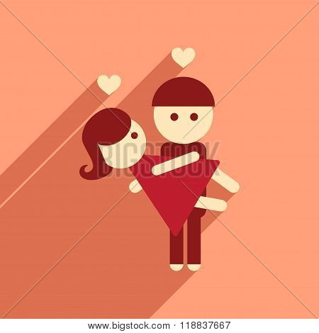 Flat web icon with long shadow pair of lovers