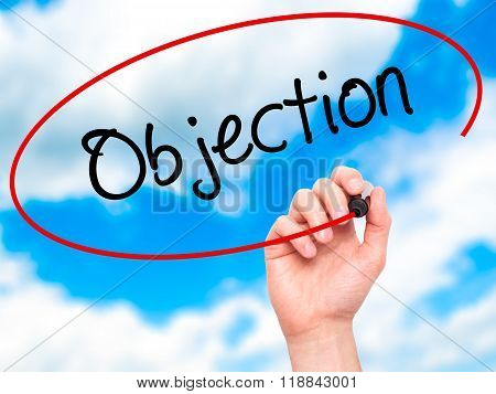 Man Hand Writing Objection With Black Marker On Visual Screen