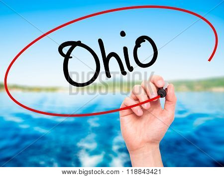 Man Hand Writing Ohio  With Black Marker On Visual Screen