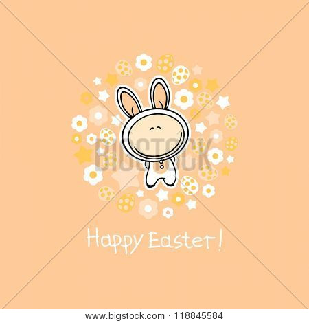 Happy Easter card with a cute white bunny, Easter eggs, flowers and stars (raster version)
