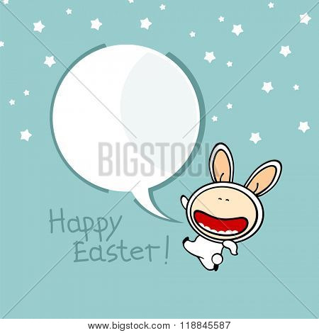 Happy Easter background with a bunny (raster version)