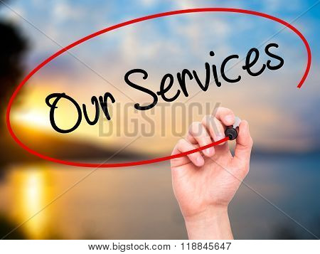 Man Hand Writing Our Services With Black Marker On Visual Screen