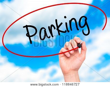 Man Hand Writing Parking With Black Marker On Visual Screen