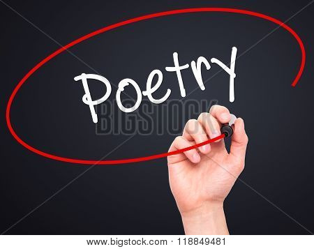 Man Hand Writing Poetry  With Black Marker On Visual Screen