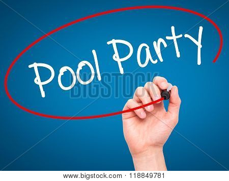 Man Hand Writing Pool Party With Black Marker On Visual Screen