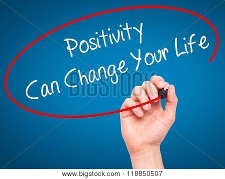 Man Hand Writing Positivity Can Change Your Life With Black Marker On Visual Screen