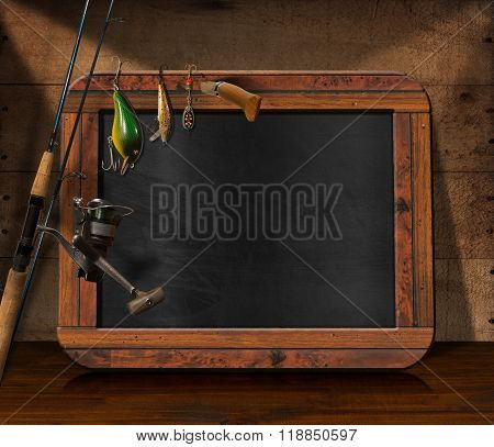 Fishing Tackle With Empty Blackboard