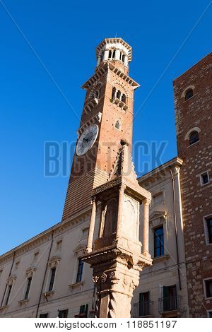 Lamberti Tower In Piazza Erbe - Verona Italy