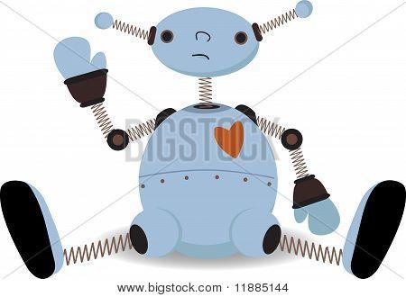 Sad Sitting Robot Waves