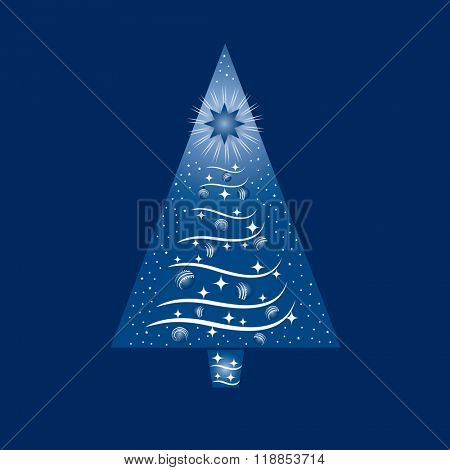 Blue and white Christmas Tree Greeting Card