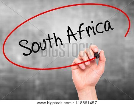 Man Hand Writing South Africa With Black Marker On Visual Screen