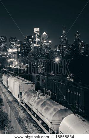 PHILADELPHIA, PENNSYLVANIA - MAR 26: city skyline with train on March 26, 2015 in Philadelphia. It is the largest city in Pennsylvania and the fifth in the United States.