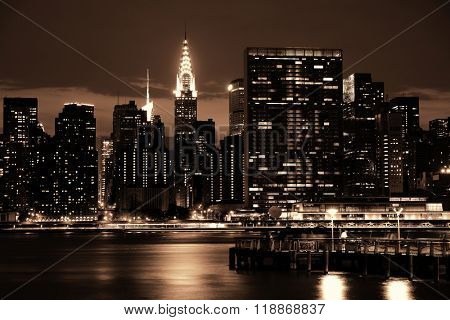 NEW YORK CITY, NY, USA - JUL 12: Chrysler Building at night on July 12, 2014 in Manhattan, New York City. It was designed by William Van Alena as Art Deco architecture and the famous landmark.