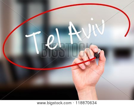 Man Hand Writing Tel Aviv  With Black Marker On Visual Screen