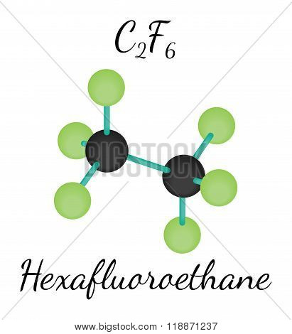 C2F6 hexafluoroethane molecule