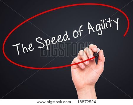 Man Hand Writing The Speed Of Agility With Black Marker On Visual Screen