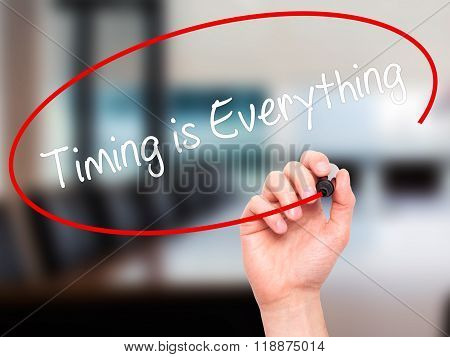 Man Hand Writing Timing Is Everything With Black Marker On Visual Screen