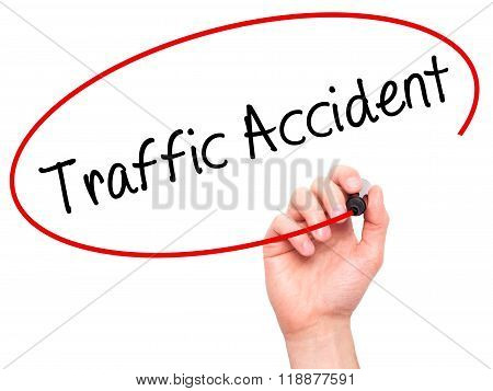Man Hand Writing Traffic Accident With Black Marker On Visual Screen