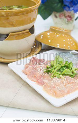 Sukiyaki Fresh Beef pork slices Vegetable Dinner Set