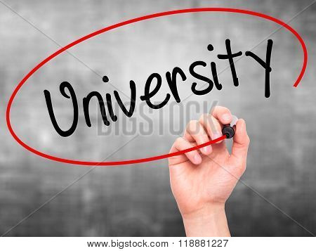 Man Hand Writing University With Black Marker On Visual Screen