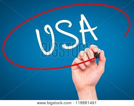 Man Hand Writing Usa With Black Marker On Visual Screen