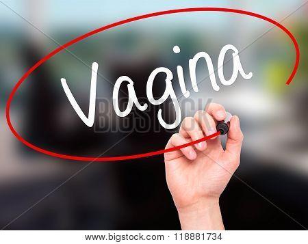Man Hand Writing Vagina With Black Marker On Visual Screen