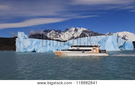 Ship and an iceberg in the background