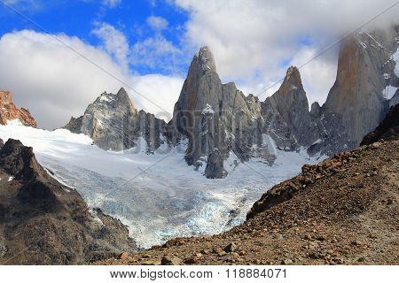 Glacier and Cerro Fitz Roy - El Chalten