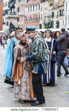 Venetian Couple Dancing - Venice Carnival 2014