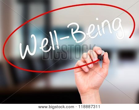 Man Hand Writing Well-being  With Black Marker On Visual Screen