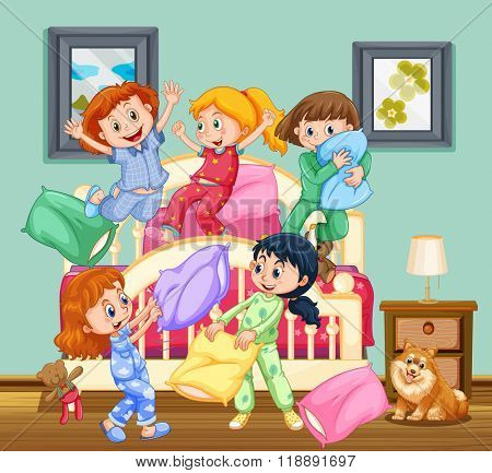 Children at the slumber party illustration