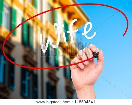 Man Hand Writing Wife With Black Marker On Visual Screen