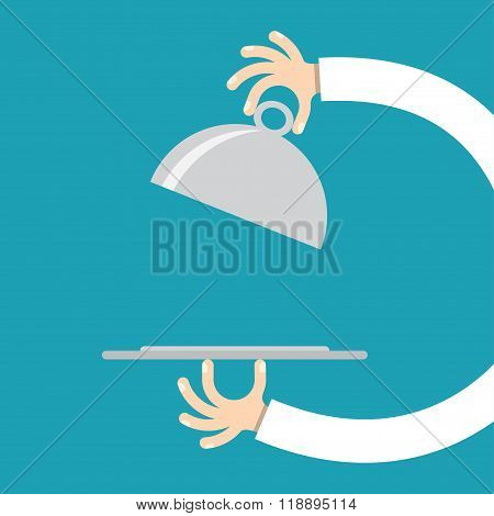 Waiter hands with cloche lid