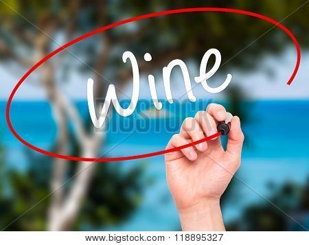 Man Hand Writing Wine  With Black Marker On Visual Screen