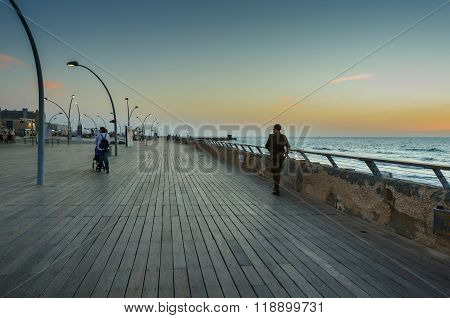 Seaside promenade at the blue hour