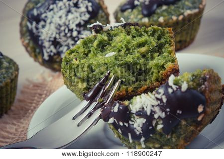 Vintage Photo, Fresh Muffins With Spinach, Desiccated Coconut And Chocolate Glaze, Delicious Healthy