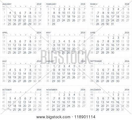 Calendar Of The Year Two Thousand Sixteen. 2016 Year Calendar.