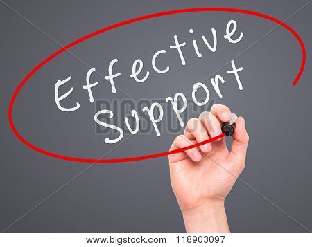 Man Hand Writing Effective Support With Marker On Transparent Wipe Board