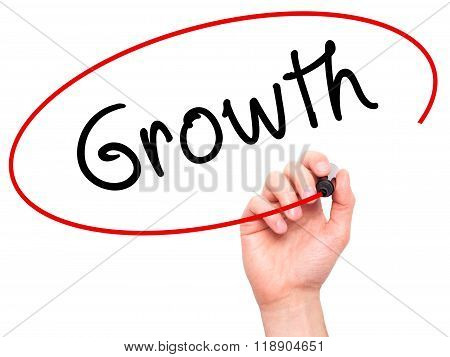 Man Hand Writing Growth With Marker On Transparent Wipe Board