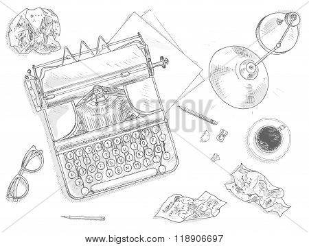 Antique typewriter background
