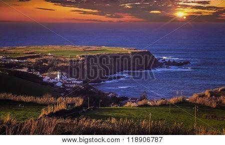 Sunset over Sao Miguel coastline