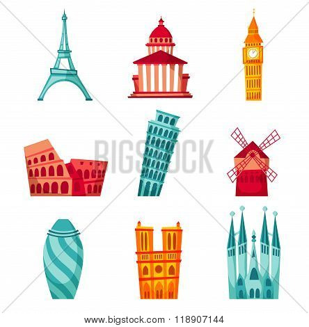 Europe landmark set