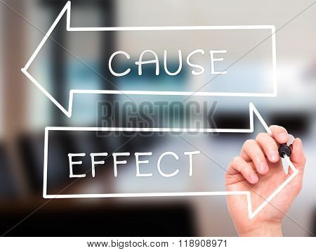 Man Hand Writing Cause And Effect With Marker On Transparent Wipe Board