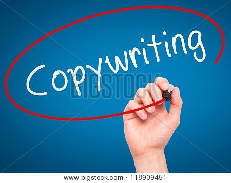 Man Hand Writing Copywriting On Visual Screen